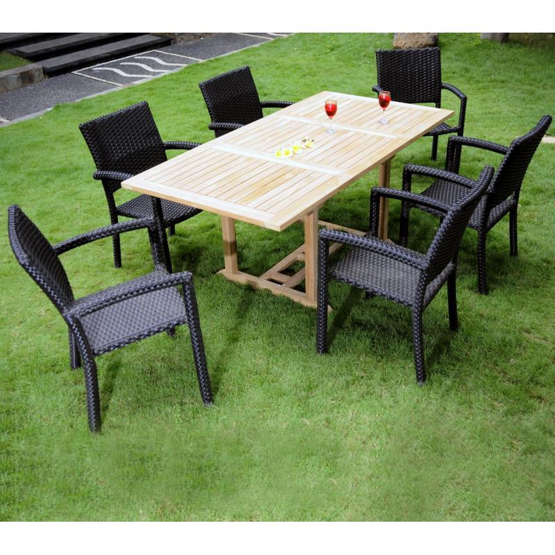 Profitez de l 39 t salon lombok teck massif l gant avec 6 fauteuils en r sine noire tress e - Mobilier jardin en teck bordeaux ...