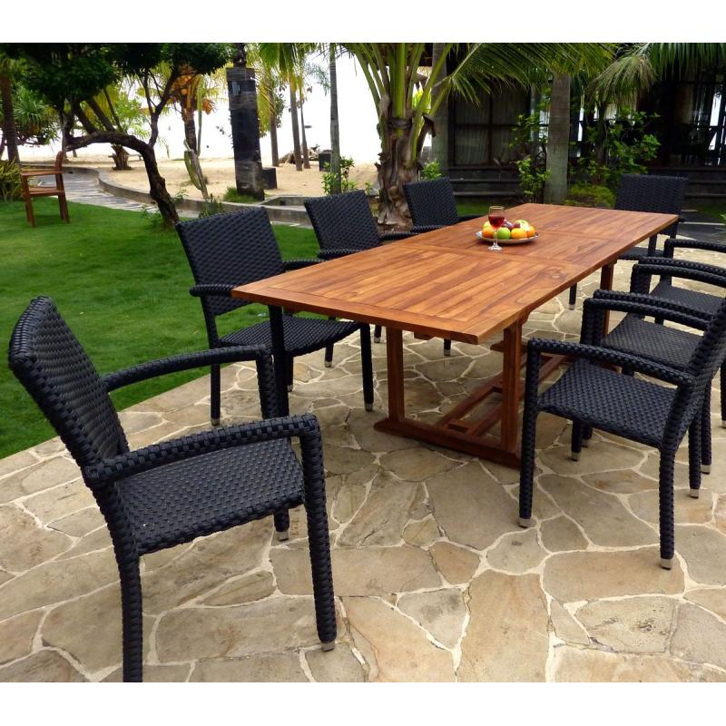 Ensemble de jardin 10 places table en teck huil et 8 for Ensemble de jardin en resine tressee