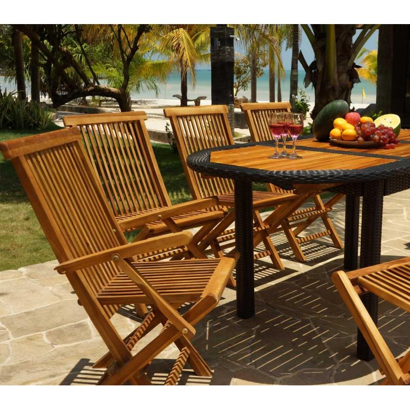 mobilier de jardin teck et r sine 8 places bali rattan wood en stock. Black Bedroom Furniture Sets. Home Design Ideas