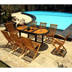 mobilier de jardin teck et résine 8 places Bali Rattan