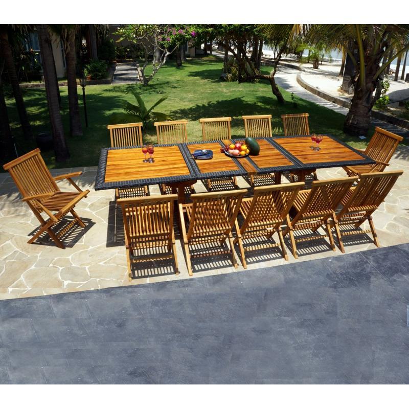 salon de jardin teck et r sine de 12 places avec une table. Black Bedroom Furniture Sets. Home Design Ideas