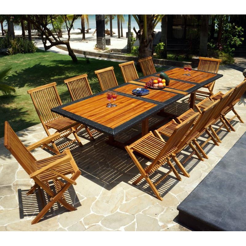 salon de jardin teck et r sine de 12 places avec une table 200 250 300 cm. Black Bedroom Furniture Sets. Home Design Ideas