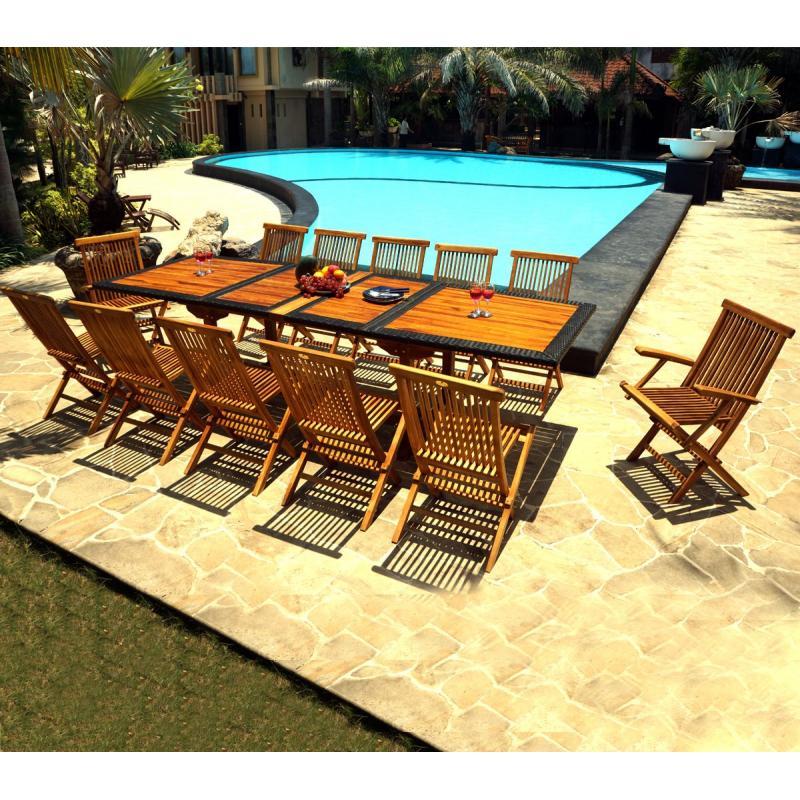 Salon de jardin teck et r sine de 12 places avec une table for Salon de jardin table et chaise en resine