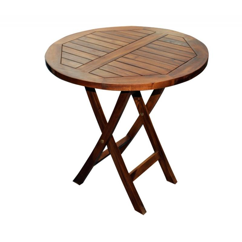 Table de jardin pliante en teck huil diametre 70 cm wood en stock - Table de jardin en teck ...