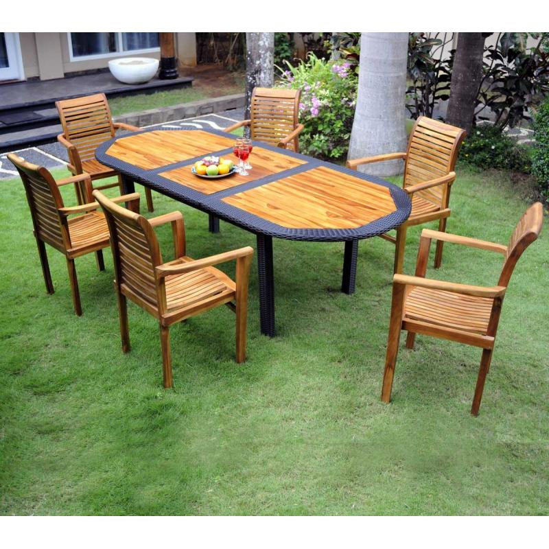Salon de jardin resine tressee java wood for Truffaut meubles de jardin