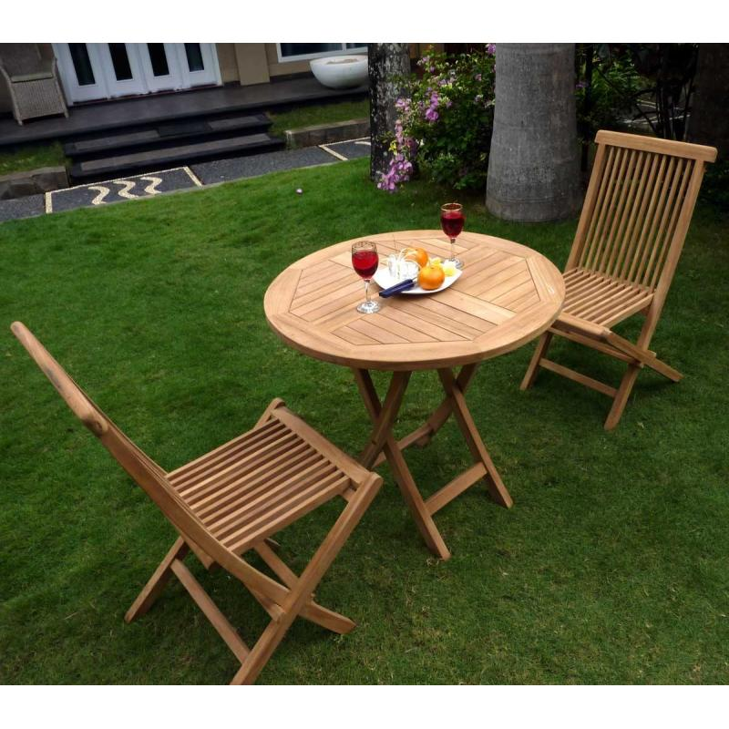 mobilier de jardin table ronde sunrise avec 2 chaises en. Black Bedroom Furniture Sets. Home Design Ideas