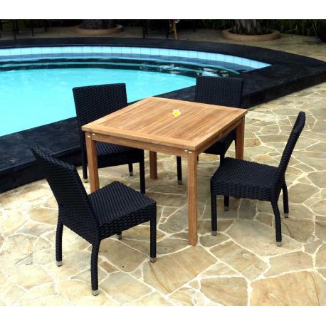 Salon de jardin en teck brut 4 chaises de jardin hanton mobilier exterieur