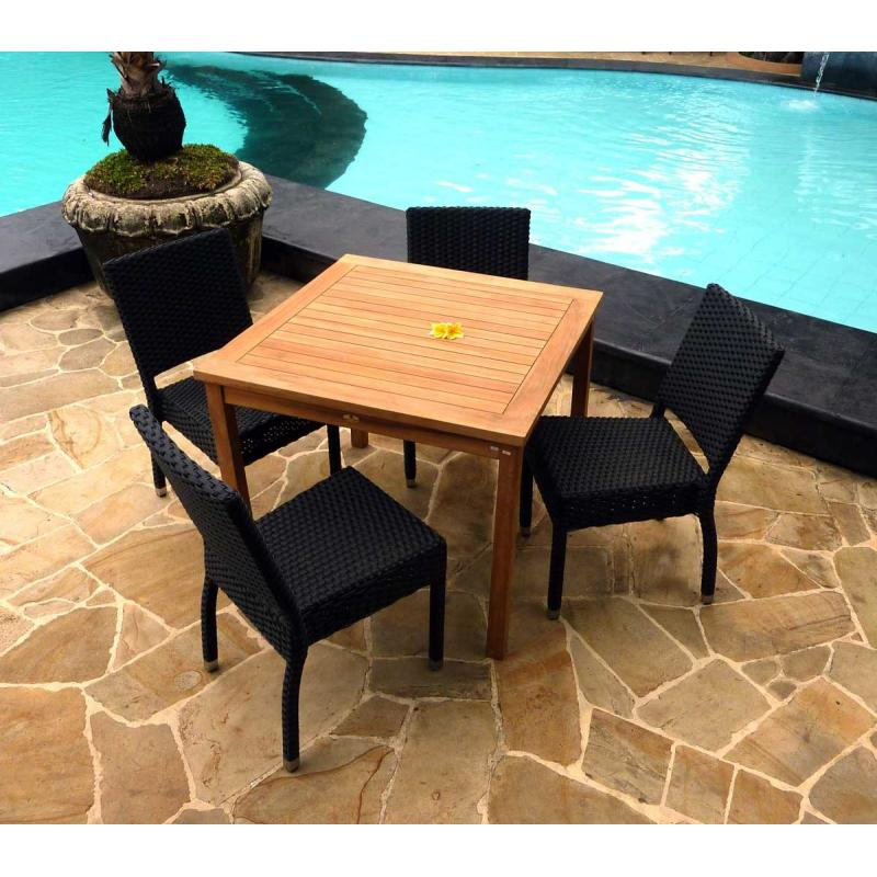 Salon de jardin 4 chaises résine avec table carrée en teck , achetez ...