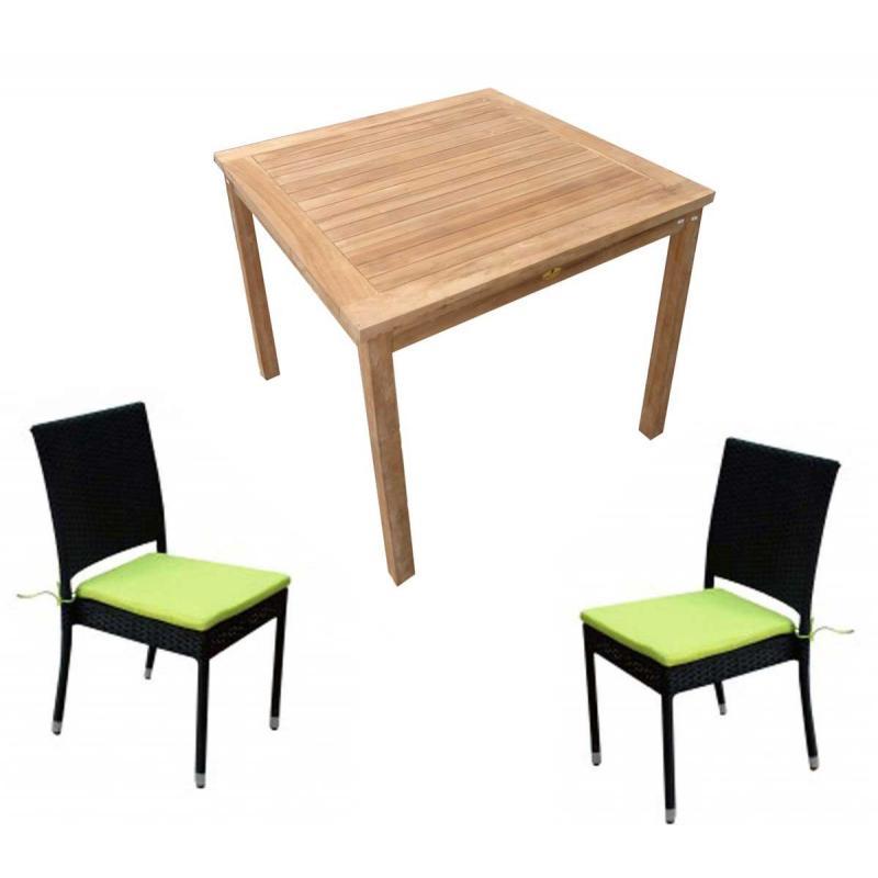 salon de jardin 4 chaises r sine avec table carr e en teck achetez votre salon au meilleur prix. Black Bedroom Furniture Sets. Home Design Ideas