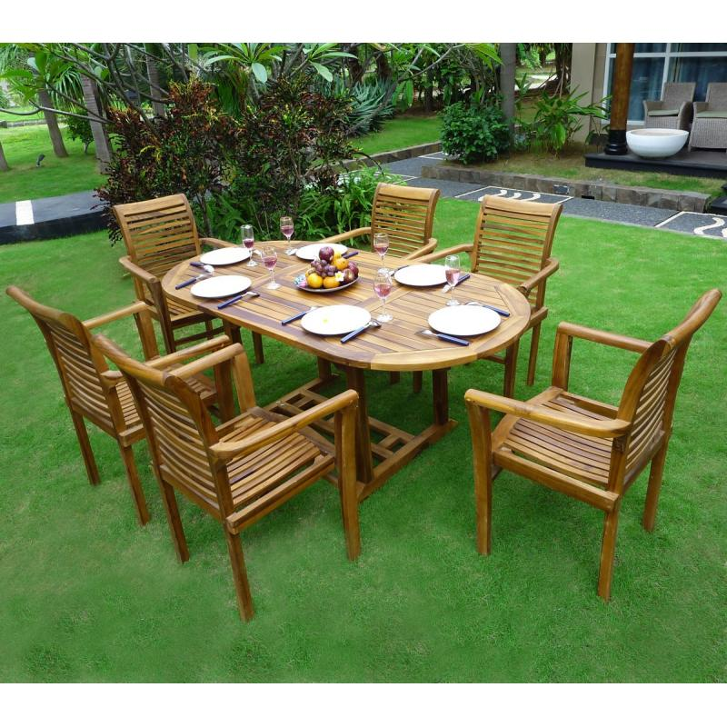 Ensemble de jardin bali en teck 6 fauteuils raja - Salon de jardin teck 6 places ...