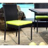 Chaise de jardin en résine tressée avec coussin