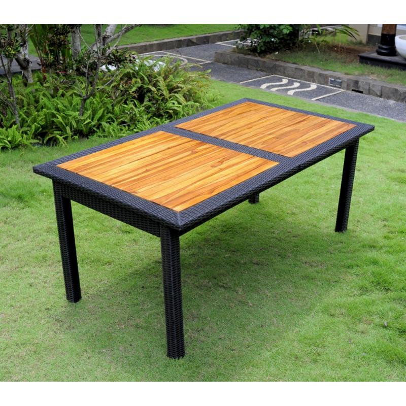 Table de jardin en teck et rotin synthetique - Table jardin en teck ...