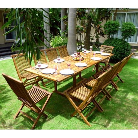 Salon de jardin en Teck huilé 10 chaises : Flores