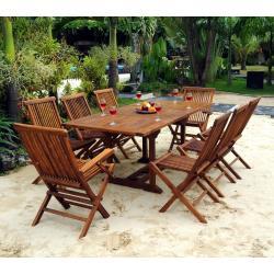 Salon Lombok teck huilé pour 8 personnes avec table 120-180 cm