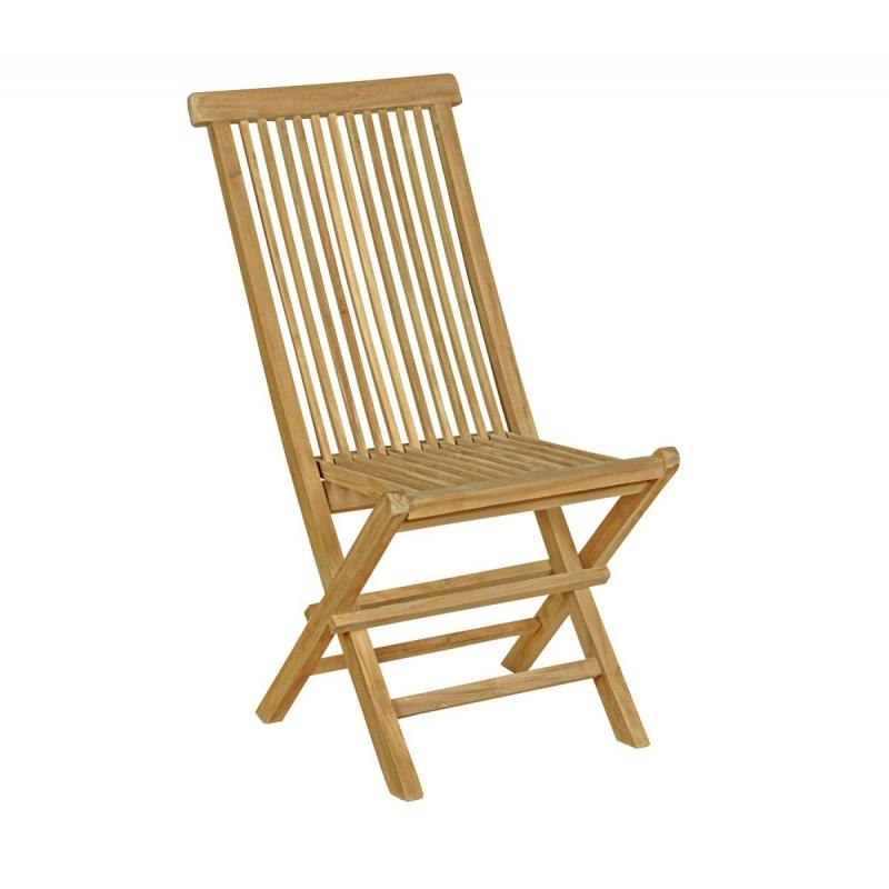 Chaise en teck naturel brut de grade jardin interieur for Chaise en teck pliante