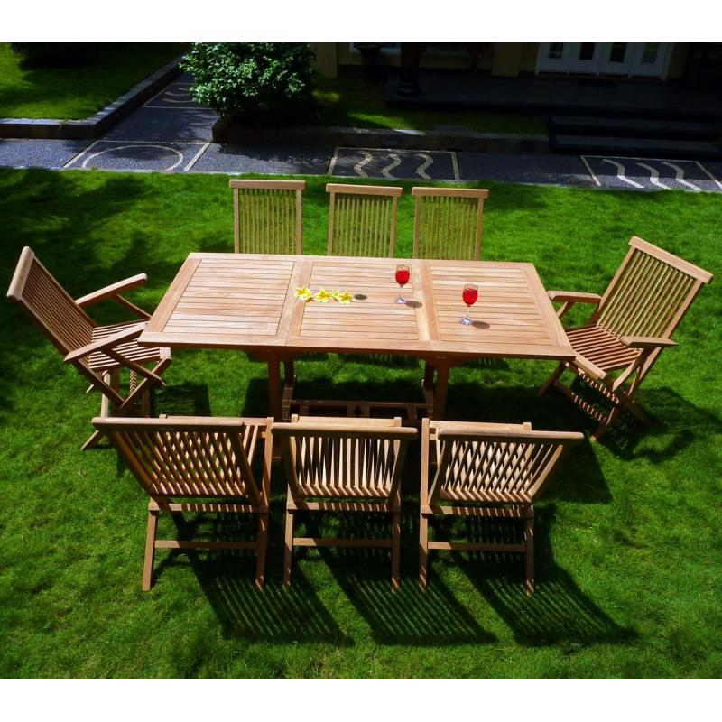 ensemble lombok 8 places teck brut de jardin table extensible pas cher. Black Bedroom Furniture Sets. Home Design Ideas