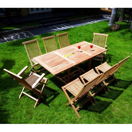 Salon de jardin en Teck 8 places