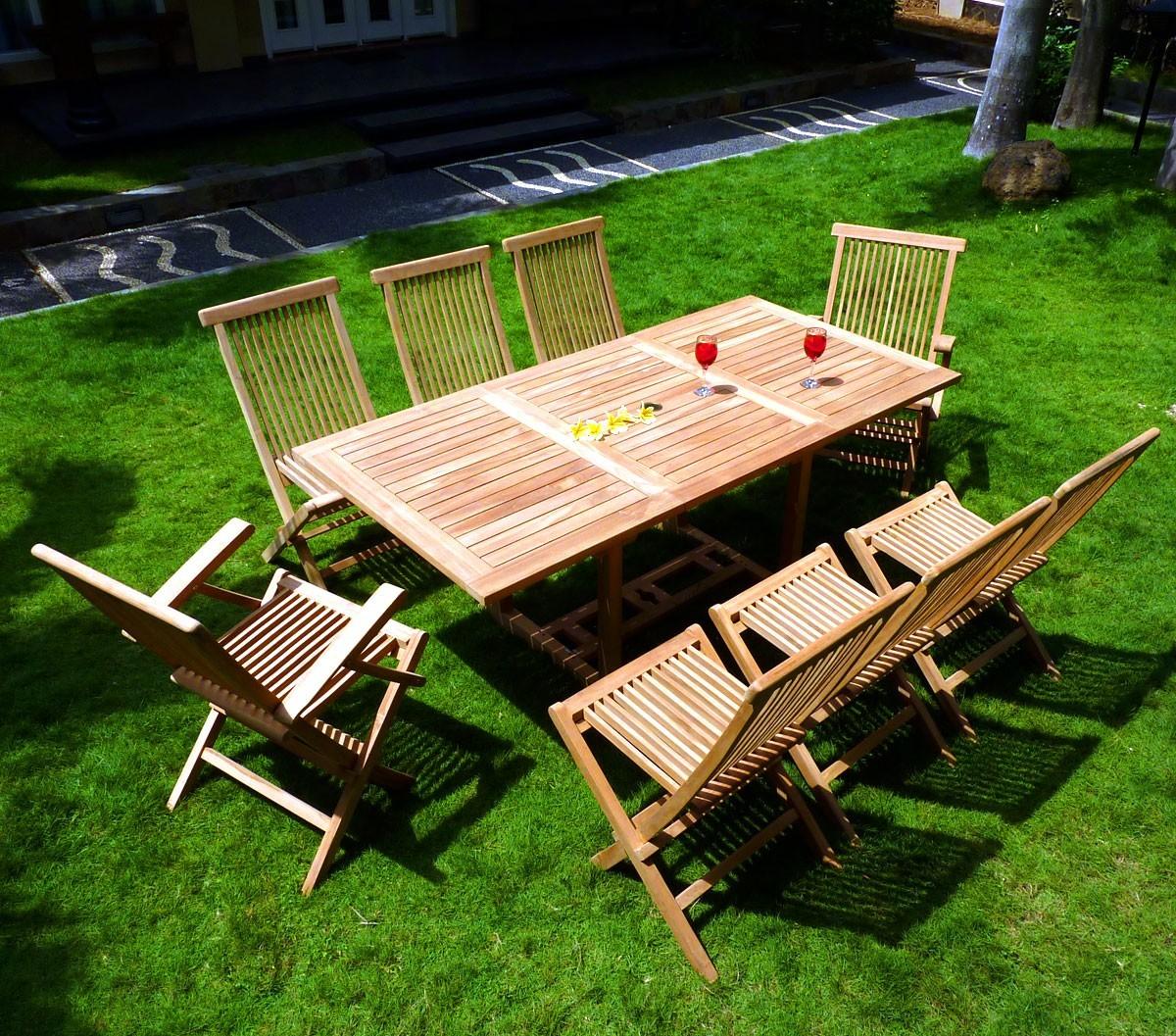 ensemble lombok 8 places teck brut de jardin table extensible pas cher. Black Bedroom Furniture Sets. Home Design Ideas