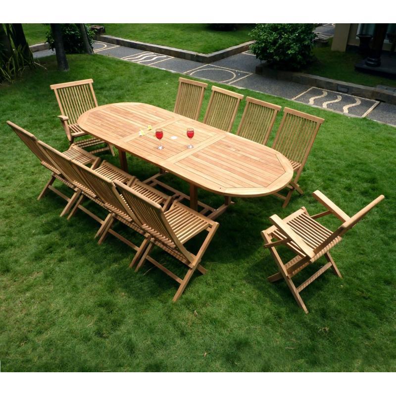 salon 10 personnes de jardin table ovale et 10 assises pliantes ensemble teck brut. Black Bedroom Furniture Sets. Home Design Ideas