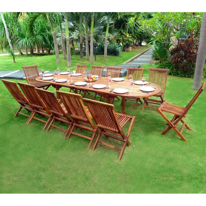 salon de jardin en teck sumatra huil avec table double rallonge wood en stock. Black Bedroom Furniture Sets. Home Design Ideas