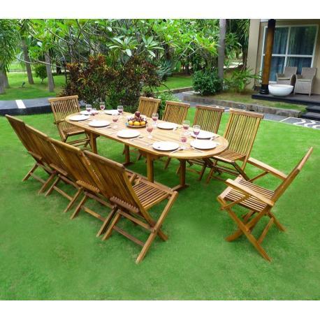 Salon de jardin en Teck 10 places ovale huilé en solde