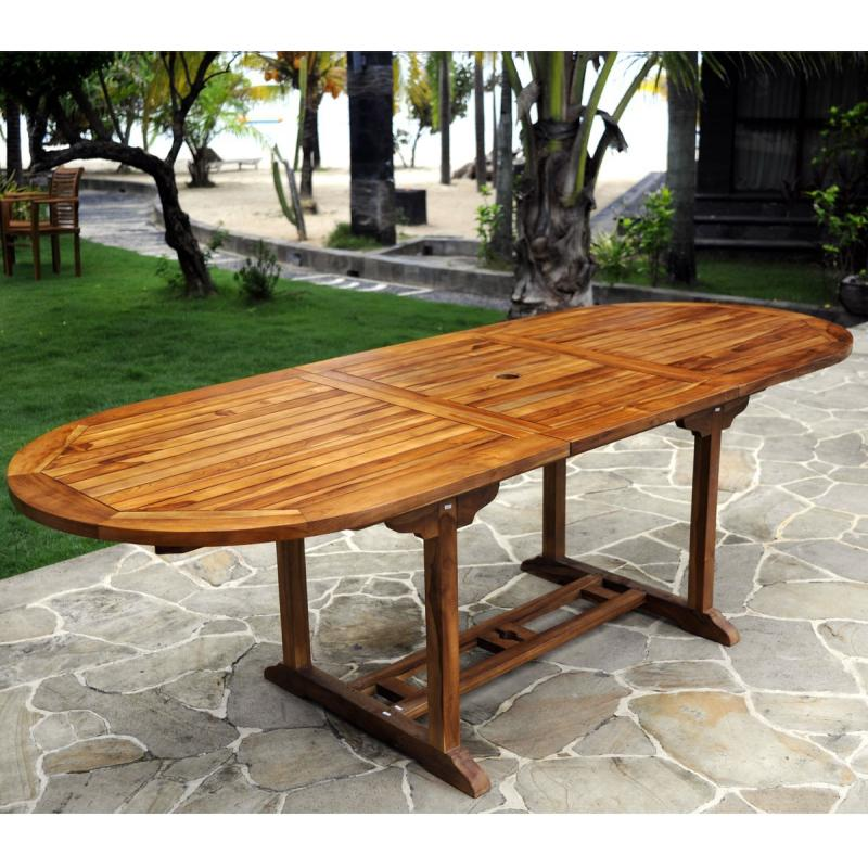 Meuble en teck table de jardin rallonge papillon - Table de salon en teck ...