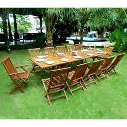 Salon de jardin en Teck huilé x12 Bornéo