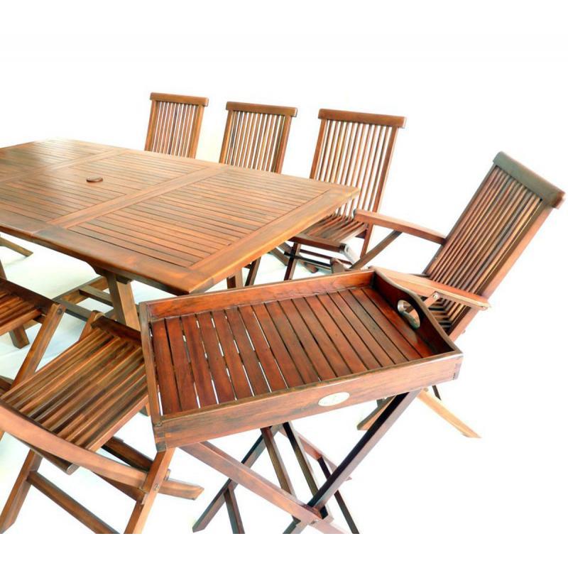ensemble de jardin en teck huil table fauteuils. Black Bedroom Furniture Sets. Home Design Ideas