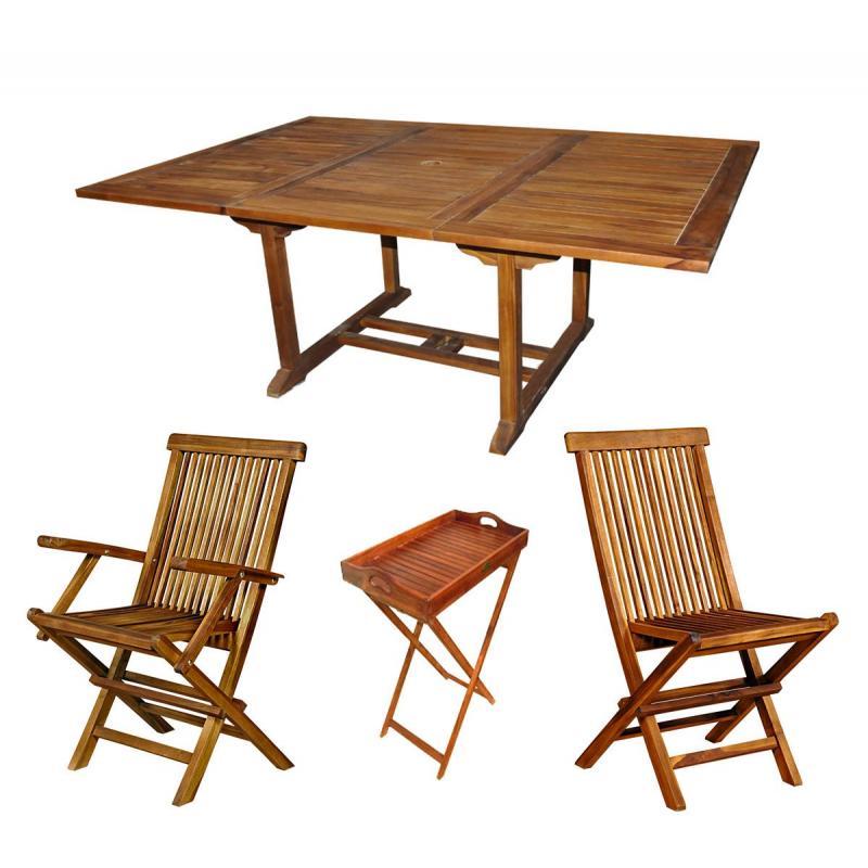 Ensemble de jardin en teck huil table fauteuils for Desserte salon de jardin