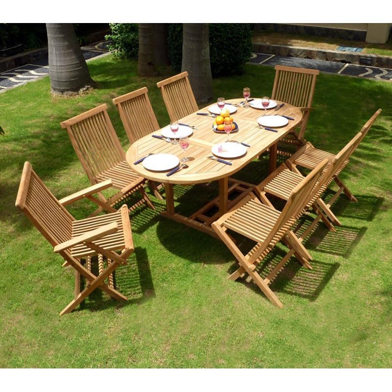 ensemble en teck massif id al pour jardin table bali et 8 assises teck massif. Black Bedroom Furniture Sets. Home Design Ideas