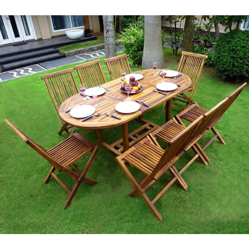 Ensemble de jardin en teck salon 8 places table teck ovale - Table de salon en teck ...