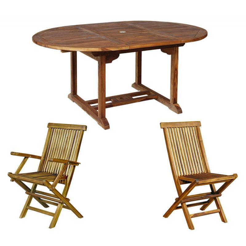Ensemble de jardin en teck salon 8 places table teck ovale - Ensemble de table de salon ...