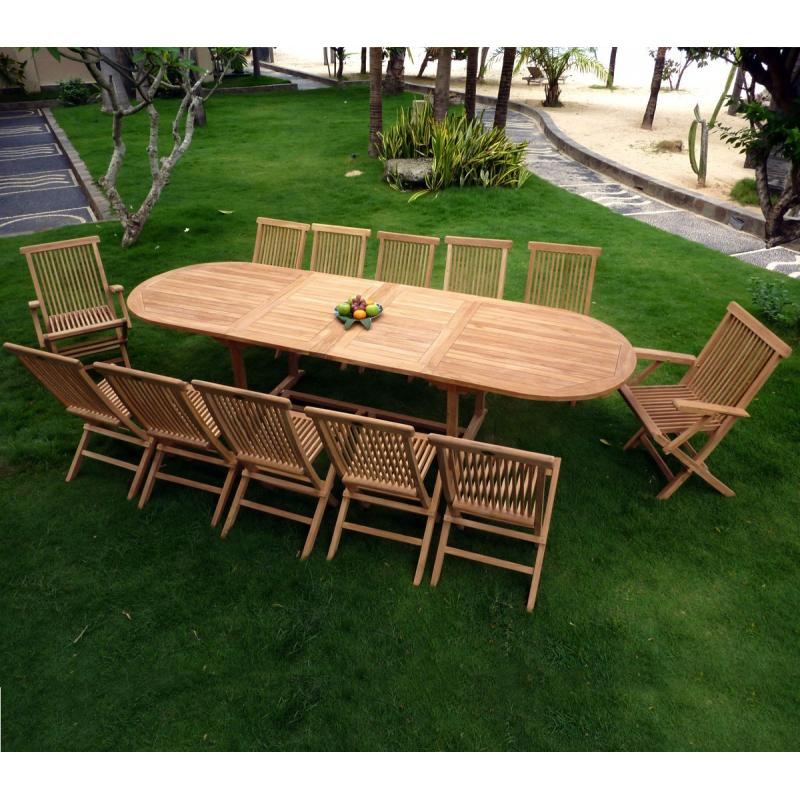Tr s grand salon de jardin table en teck brut 10 chaises for Meubles de jardin en teck