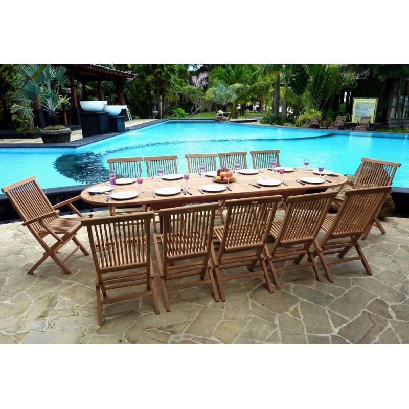 Tru00e8s Grand Salon De Jardin Table En Teck Brut 10 Chaises Et 2 Fauteuils Pliables