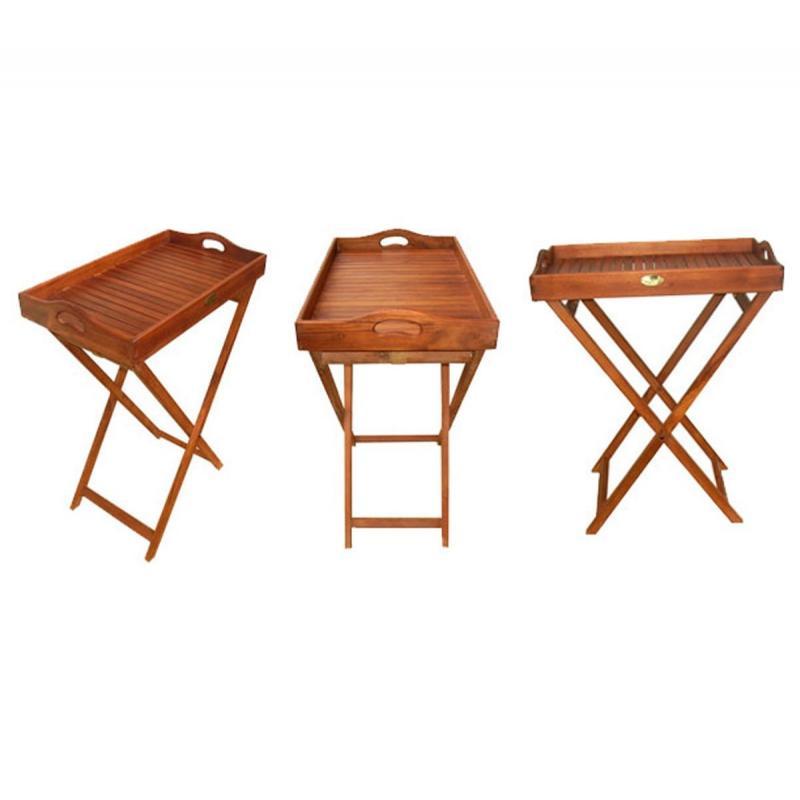 desserte de jardin plateau en teck huile. Black Bedroom Furniture Sets. Home Design Ideas