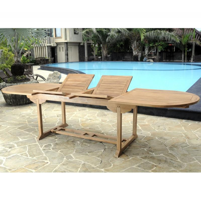 table xxl 3 metres de jardin en teck brut massif naturel. Black Bedroom Furniture Sets. Home Design Ideas