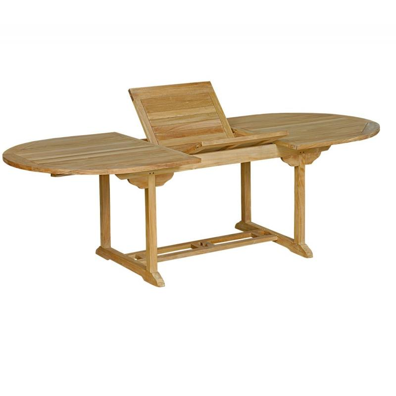 Table de jardin en teck massif naturel 10 places - Table ovale en teck ...