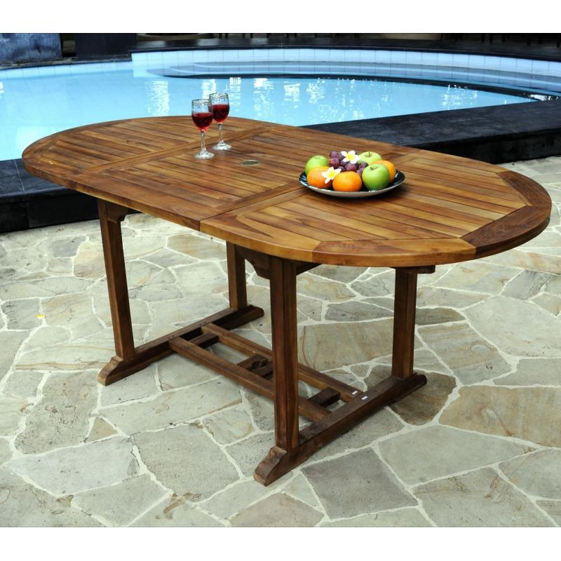 Table en teck de jardin 8 places finition huil e - Table ovale en teck ...