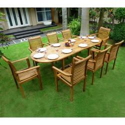 """Salon de jardin en Teck 8-10 places ovale huilé """"Java Raja"""""""
