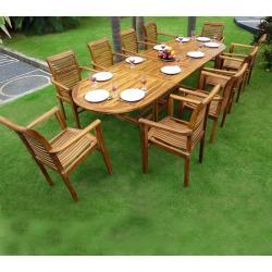 Salon de jardin en Teck huilé XXL : Sumatra Raja table teck et résine