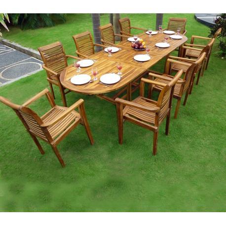 Ensemble salon de jardin en teck en promotion : table + 10 fauteuils ...