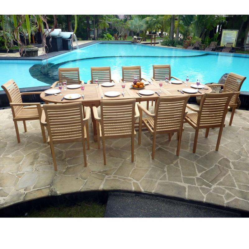 brut de jardin  table extensible et 10 fauteuils teck, salon pas cher