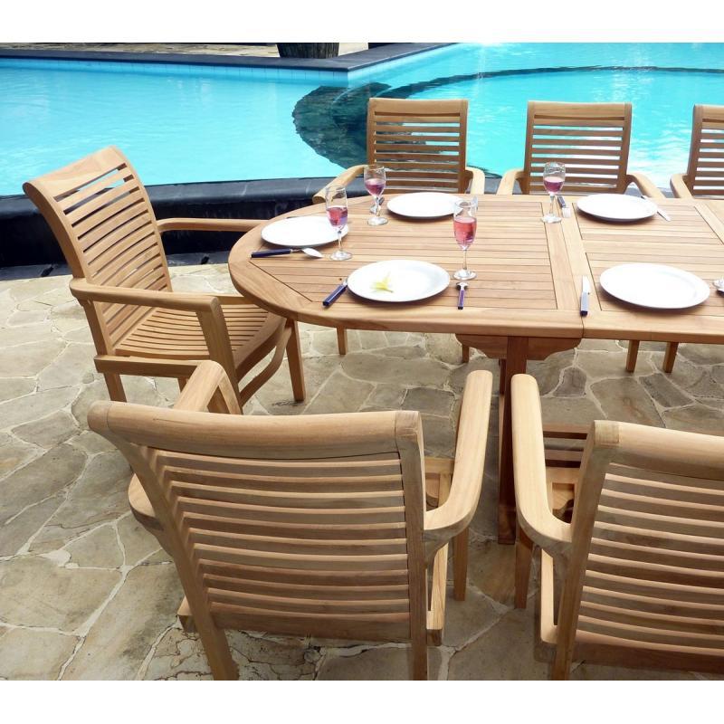 ensemble teck brut de jardin table extensible et 10 fauteuils teck salon pas cher. Black Bedroom Furniture Sets. Home Design Ideas