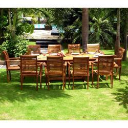 Salon de jardin - grande table et fauteuils en teck huilé