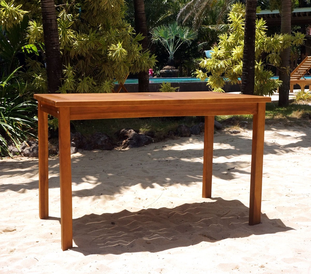 Table de jardin en teck huil 120 x 70 cm - Entretien table en teck ...