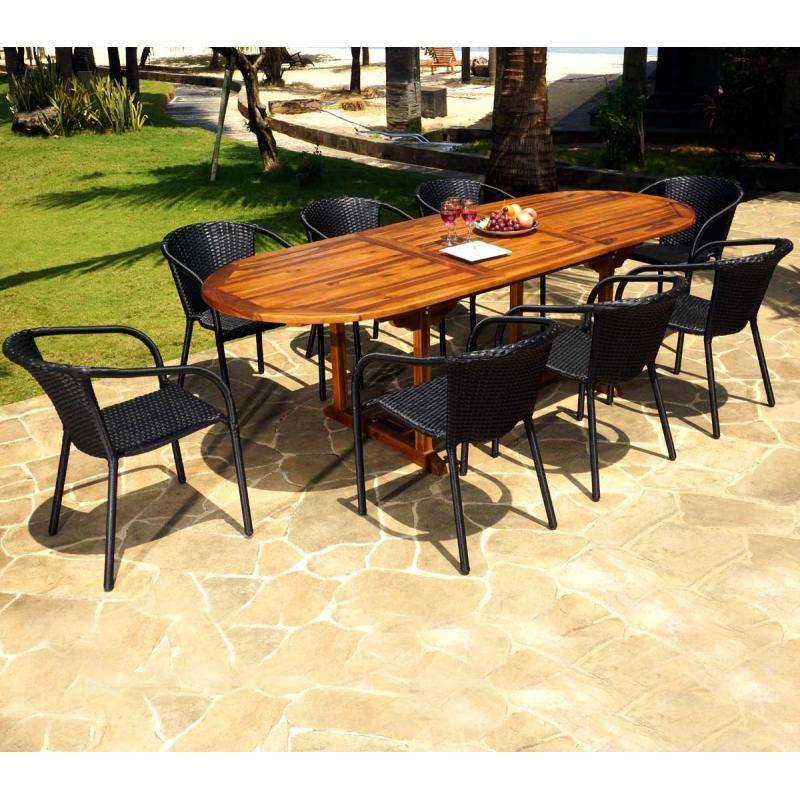 ensemble de jardin java bora avec table rallonge 240 cm wood en stock. Black Bedroom Furniture Sets. Home Design Ideas
