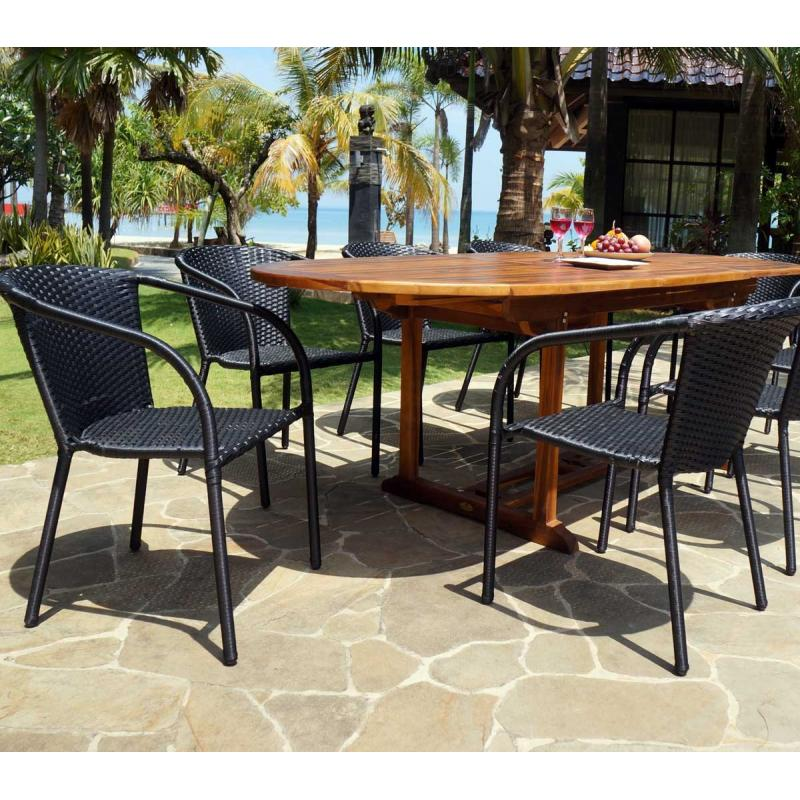 ensemble de jardin java bora avec table rallonge 240 cm wood en stock. Black Bedroom Furniture Sets. Home Design Ideas