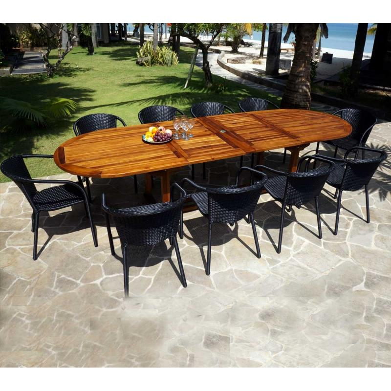 ensemble de jardin sumatra bora avec table rallonge 3 m tres wood en stock. Black Bedroom Furniture Sets. Home Design Ideas