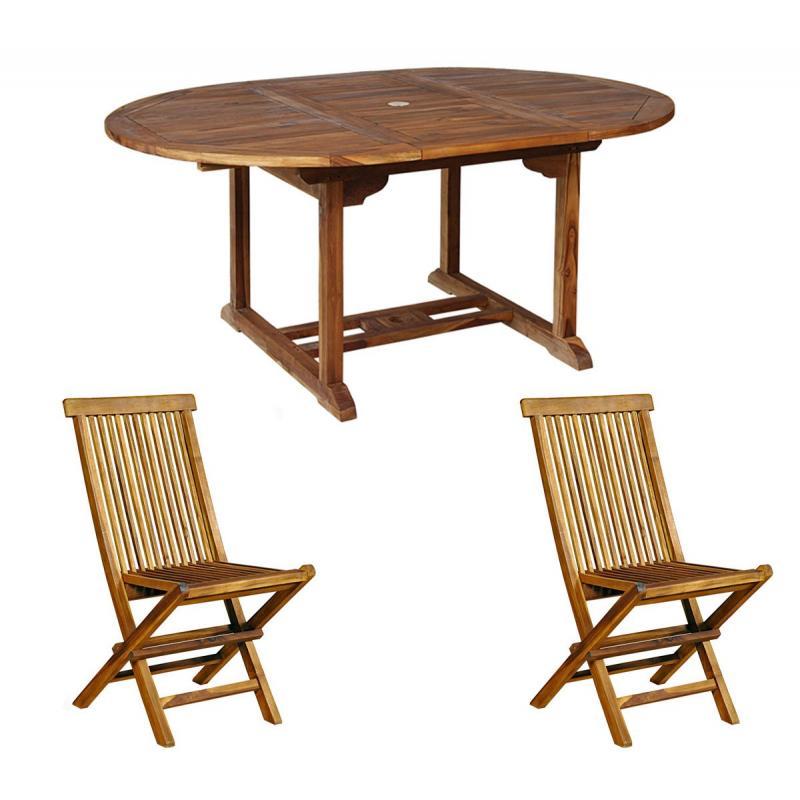 Ensemble 4 places table et chaises en teck - Entretien table en teck exterieur ...