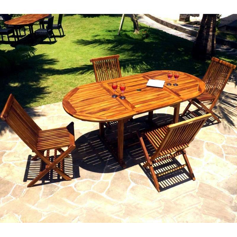 ensemble 4 places table et chaises en teck